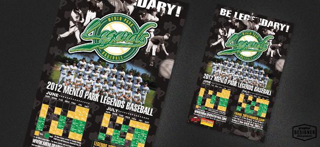 Baseball poster design of 2012 Menlo Park Legends Baseball Team.