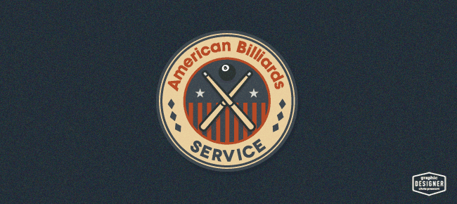 retro logo design  u2022 american billiards service  u2022 graphic