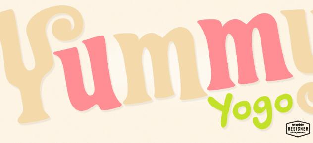 Close up of a yogurt logo design, Yummy Yogo.