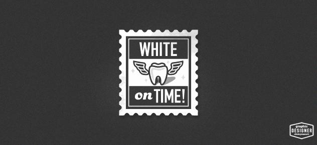 Black and White vintage stamp logo design for a dentist. Logo graphic design by Milwaukee Graphic Designer Chris Prescott