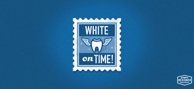 This is a logo of a flying tooth within a stamp, the overall style is a vintage, retro logo design for a dental office. Logo graphic design by Milwaukee Graphic Designer Chris Prescott