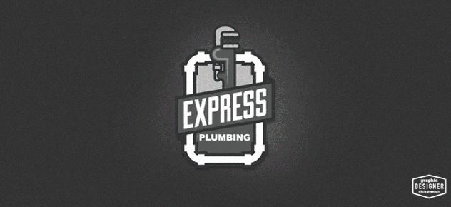 Black & white retro plumbing logo by Milwaukee Graphic Designer Chris Prescott