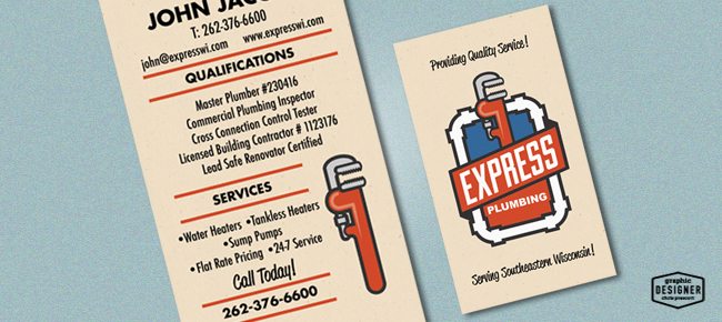 Express plumbing plumbing logo graphic designer chris prescott retro vintage business card design for a plumbing company by milwaukee graphic designer chris prescott colourmoves