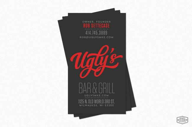 Milwaukee branding uglys bar grill graphic designer chris created by milwaukee uglys bar grill milwaukee wisconsin business card design by graphic designer chris prescott reheart Image collections