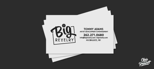 Hand lettering logo big revelry graphic designer chris prescott letterpress business card graphic design for big revelry by milwaukee graphic artist chris prescott colourmoves