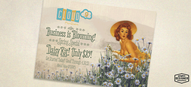 Cloud 9 Parties 4x6 postcard, retro graphic design project by designer Chris Prescott. The postcard is showing a women picking daisies in a garden.