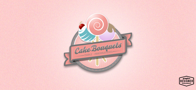 Pink Cake Pops & Cake Logo Design for a bakery