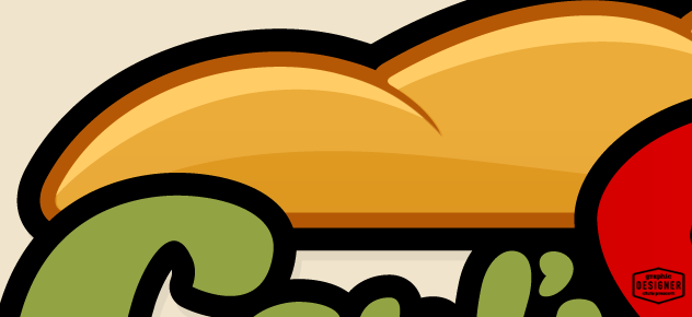 This is a steak sandwich logo design, consisting of a giant piece of bread - Close up.
