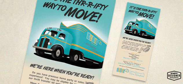 Cloud 9 Parties vintage / Retro 50's truck illustration / print design by Graphic Designer Chris Prescott