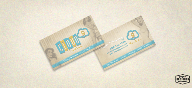 Cloud 9 Parties vintage / retro business card design created by Graphic Designer Chris Prescott