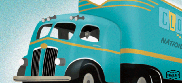 Cloud 9 parties retro truck illustration (close up) by Graphic Designer Chris Prescott