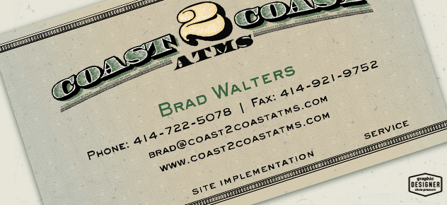 Close Up of Coast 2 Coast ATMS Business Card Design - Money Design
