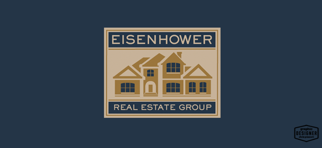 This is an iconic logo design for a real estate company using blue and tan colors.