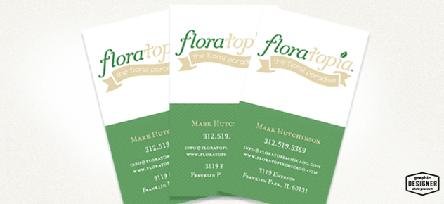 Floral business card design for floratopia, flower arrangement logo design. Logo / branding graphic design by Milwaukee Graphic Designer Chris Prescott.