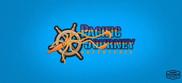 Pacific Journeys Colorful logo design with a squid & captain's wheel.