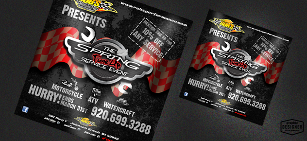 Motorsports Print Design, Using brushed metal, ribbons and wrenches.