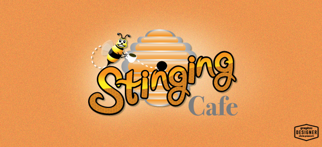 This is a bee logo design for a coffee cafe