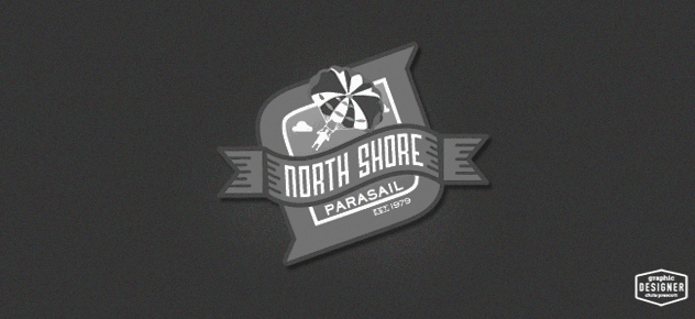 This is a watersports logo design of North Shore Parasail