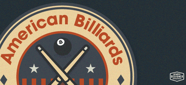 American Billiards service pool logo design close up. Logo graphic design by Milwaukee Graphic Designer Chris Prescott.