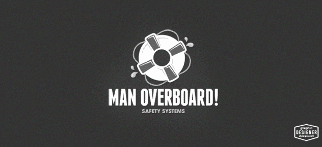 Man Overboard, black and white logo design.