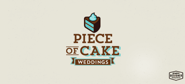 Logo Design for a cake making business, There's a banner, cake design, along with slab serif typeface. The logo has teal and brown for it cake logo.