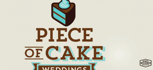 This is a logo / branding designer for Piece of Cake Weddings, a wedding planning business.