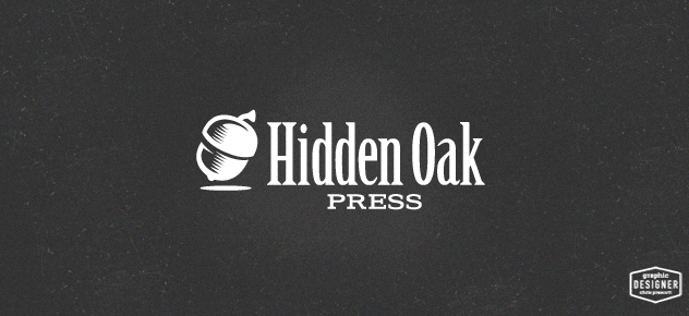 Branding logo design of hidden oak press, using an acorn. This logo has an outdoor feel. Logo graphic design by Milwaukee Graphic Designer Chris Prescott.