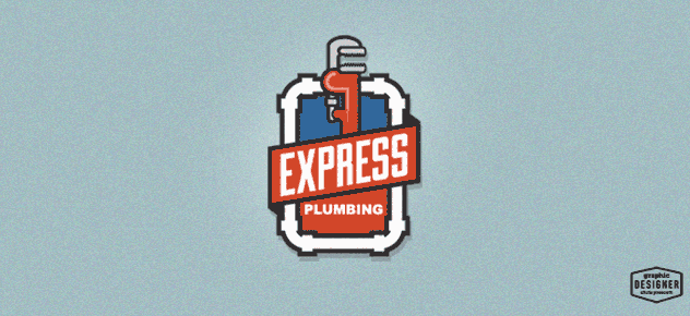 Retro / Vintage logo branding design. This logo has a pipe wrench, pipes, and retro colors.