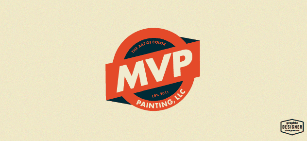 MVP Painting, LLC  is a badge style, retro logo design for a painting company out of Milwaukee, Wisconsin. Logo has burnt orange & dark navy blue in color. Graphic Design by Chris Prescott