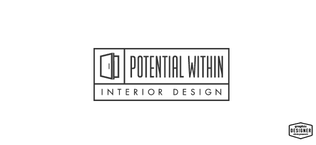 Modern Logo / Branding Design for Potential Within Interior Design. Logo features a modern door wide open that's modern in style.