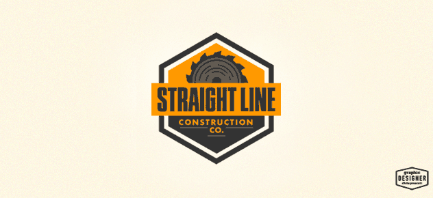 Retro / vintage logo branding design for a construction company in Orange County, California. The logo has a saw blade, and condensed typography. The logo is orange and grey in colors. Logo design by Milwaukee Graphic Designer Chris Prescott