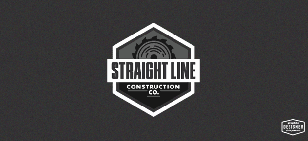 Retro / vintage logo branding design for a construction company. The logo has a saw blade, and condensed typography. The logo is a black & white.