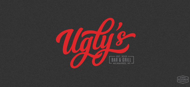 Ugly's Bar & Grill logo / branding design created by Milwaukee branding Graphic Designer Chris Prescott. This logo features a red script / hand lettering style typeface with condensed typography.