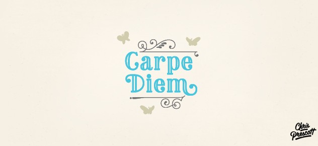 Carpe Diem is teal logo design / motivational quote with butterflies and victorian styling. Graphic Designer Chris Prescott