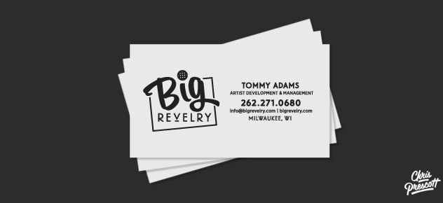 Letterpress business card graphic design for Big Revelry by Milwaukee graphic artist Chris Prescott.