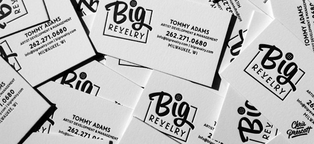 Big Revelry letterpress business card design by Milwaukee branding graphic designer Chris Prescott