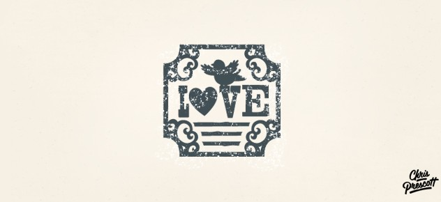 Soft logo design illustration of a bird sitting on top of the word love and heart. Overall style references a wood type look and feel with texture. Graphic Designer Chris Prescott