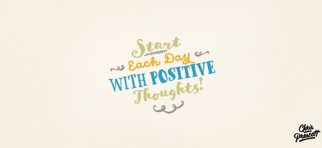 Motivational logo design quote with scripts typefaces, swirls and colors. Graphic Designer Chris Prescott