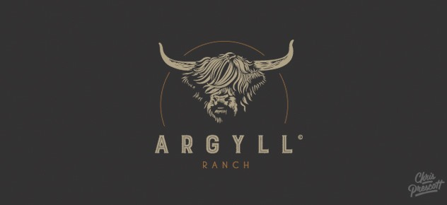 Argyll Ranch is a cow ranch farm logo that features a illustration of a Scottish Highland cow for a ranch in Wisconsin.