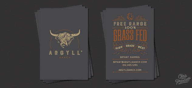 Argyll Ranch business cards features wood type style typography with illustration.
