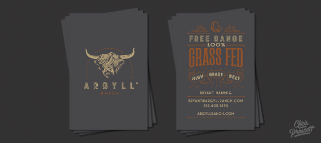 Wood type western logo argyll ranch graphic designer chris prescott graphic design argyll ranch business cards features wood type style typography with illustration business card graphic design colourmoves
