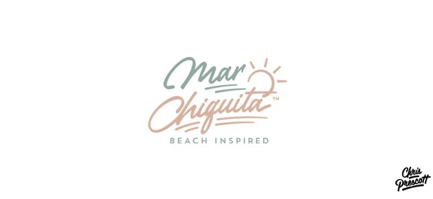 Hand lettering logo typography design for a beach brand apparel company. This logo has custom lettering with reference to an illustrated sun and beach.