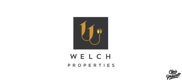 Milwaukee logo graphic design for Welch Properties. Logo features inspiration stemming from a mid-century iconic graphic design approach along with custom monogram letterform that references the rooflines of two houses and a light.
