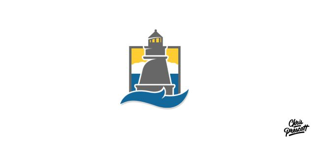 Milwaukee logo graphic design illustration of lighthouse. This iconic illustration features a lighthouse over a wave, water and sky.