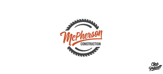 Logo design for a construction company that has a retro style, script typeface, and an illustrated saw blade that surrounds the logo concept. Logo graphic design by Milwaukee Graphic Designer Chris Prescott.